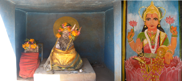Mini temple in Coimbatore and a goddess painted on the side of a temple somewhere near Coimbatore.