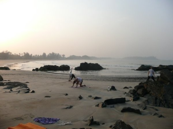 Practicing on the beach in Goa in the early morning light.