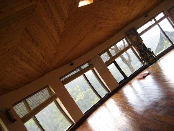 The stunningly gorgeous yoga hall at the retreat.