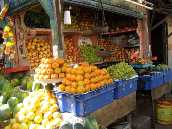 fresh fruits and vegetables for sale at a market in India