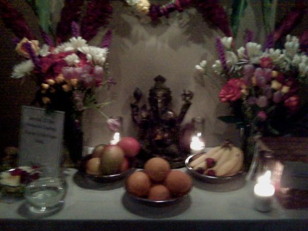 altar for Sri K. Patthabhi Jois at Jivamukti
