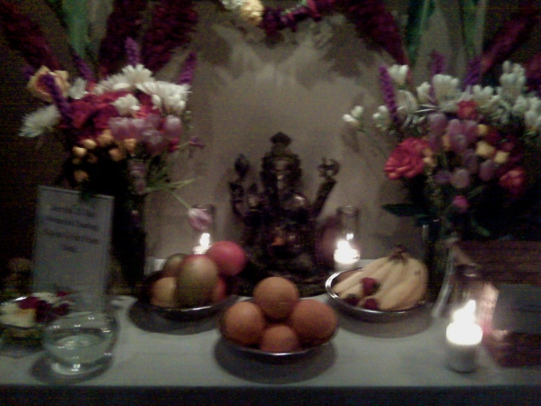 Altar for Sri K. Pattabhi Jois at Jivamukti right now
