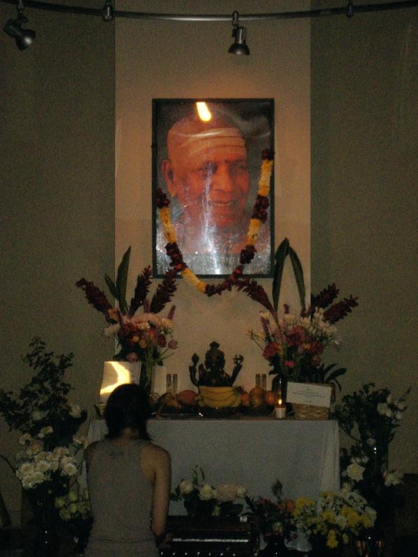 Altar for Sri K Pattahbi Jois at Jivamukti.