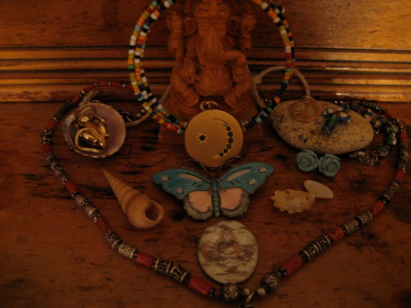 My altar, on my dresser, filled with things I've collected from all over the world.