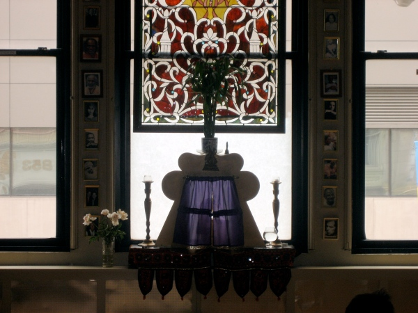 Altar in Jivamukti's Krishna room... window looking out over Broadway.