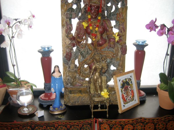 Altar in Jivamukti's Goddess room.