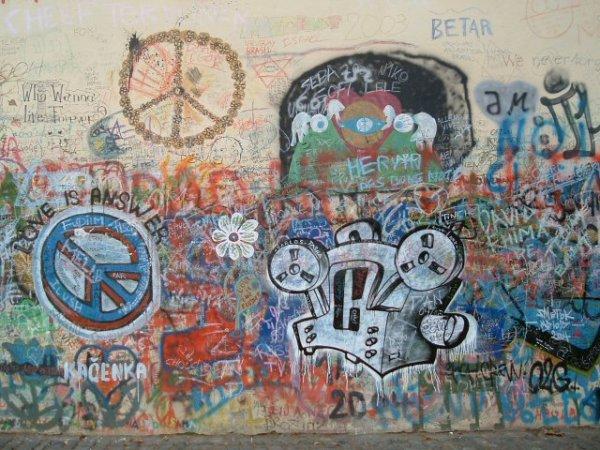 peace sign graffiti in Prague.