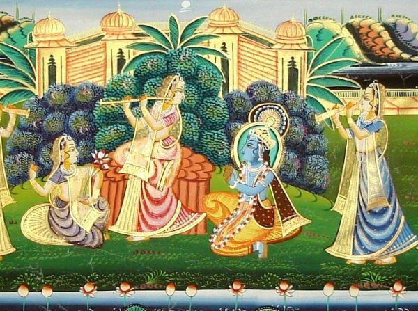 Rajasthani (Indian) Folk Art - Marvelous close Hand Painting Of Lord Krishna in Ras Leela [1] crp2